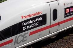 2007-ICE Premierenfahrt Frankfurt nach Paris